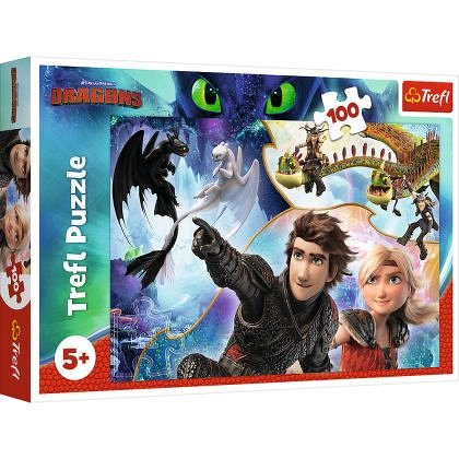 Puzzle Trefl - Pe tarmul dragonilor, 100 piese