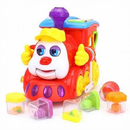Jucarie interactiva Hola Toys - Trenulet educativ cu forme, sunete si lumini