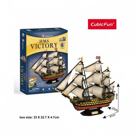 Puzzle 3D CubicFun - Nava HMS Victory, 189 piese