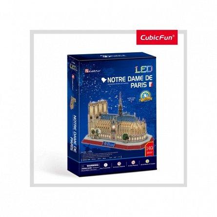 Puzzle 3D LED CubicFun - Note Dame, 149 piese