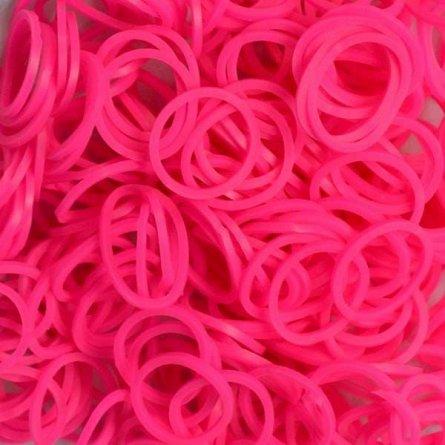 Elastice Rainbow Loom - Neon Roz, 300 buc
