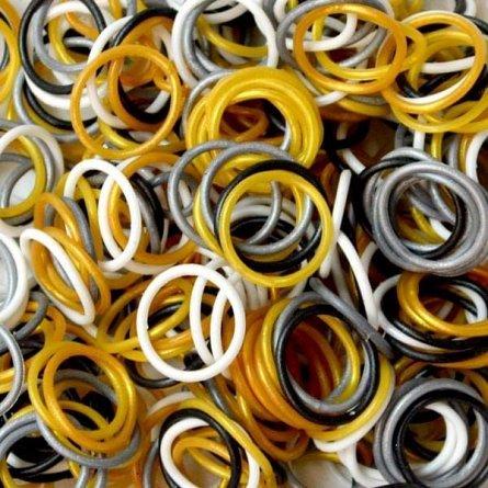 Elastice Rainbow Loom - Metalic Alb, 300 buc