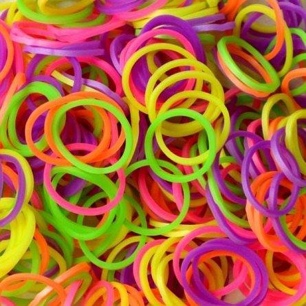 Elastice Rainbow Loom - Neon Mix, 300 buc