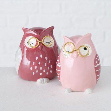 Figurina ceramica bufnita, roz, inaltime 9 cm
