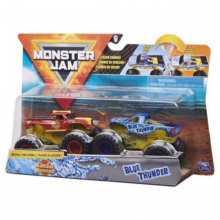 Set masini Monster Jam - Radical Rescue si Blue Thunder, color change, 1:64