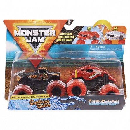 Set masini Monster Jam - Blestemul Capitanului si Crush Station, color change: 1:64