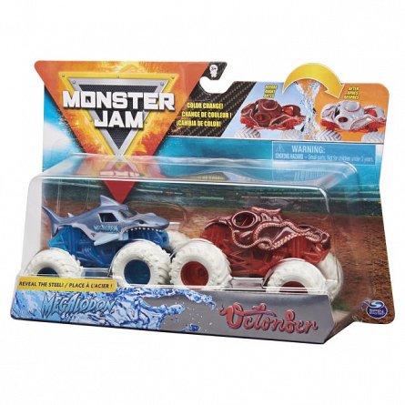 Set masini Monster Jam - Megalodon si Octonber, color change, 1:64