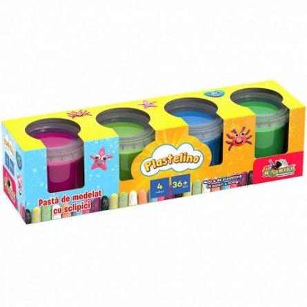 Set de joaca Plastelino - Pasta de modelat cu sclipici, 4 culori