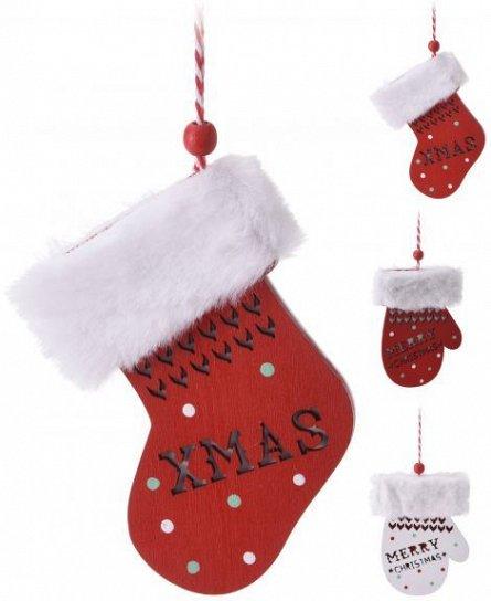 Ornament textil cu agatatoare, manusa/soseata, rosu-alb