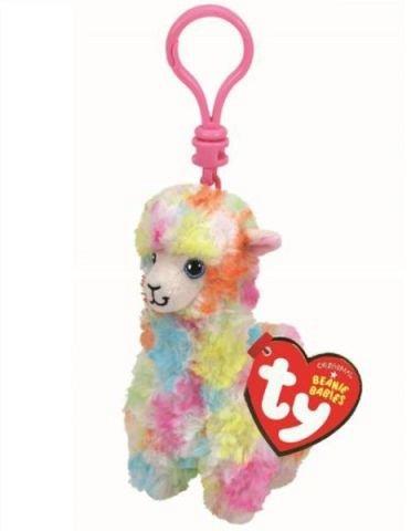 Breloc plus TY - Lola, Lama multicolora, 8.5 cm