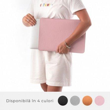 Husa laptop, MacBook, 15 inch, din piele PU, roz