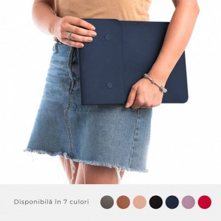 Husa laptop, MacBook, 13 inch, din piele naturala, cu mouse pad, E-store, albastru
