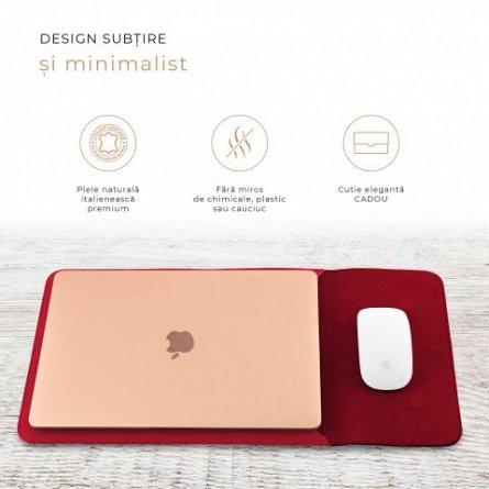 Husa laptop, MacBook, 13 inch, din piele naturala, cu mouse pad, E-store, rosu