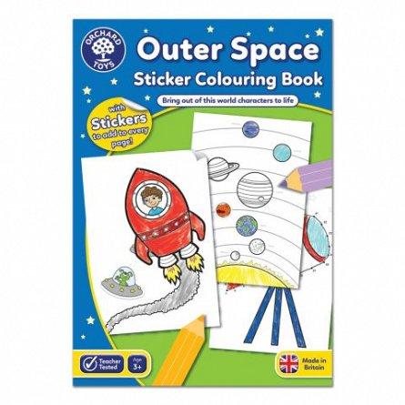 Carte de colorat cu activitati in limba engleza si abtibilduri - In Spatiu, Orchard Toys