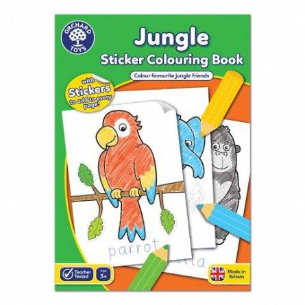 Carte de colorat cu activitati in limba engleza si abtibilduri - Jungla, Orchard Toys
