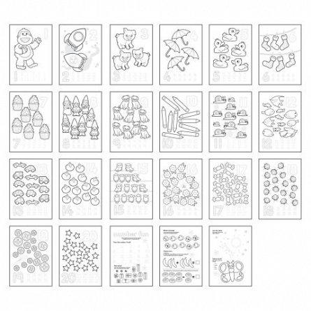 Carte de colorat cu activitati in limba engleza si abtibilduri 1-20, Orchard Toys