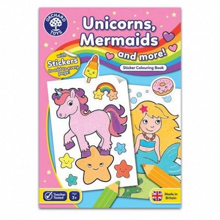 Carte de colorat cu activitati in limba engleza si abtibilduri - Unicorni, Sirene si Altele, Orchard