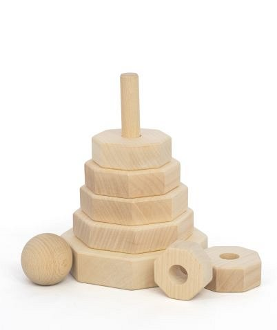 Jucarie lemn, Turn din piese natur, Octagon, Tarnawa