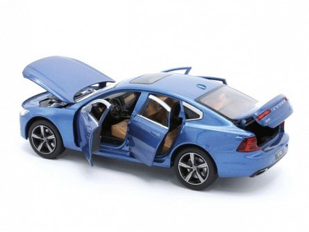 Macheta auto 1:32,Volvo S90 albastru,pull back,sunet si lumini,Tayumo