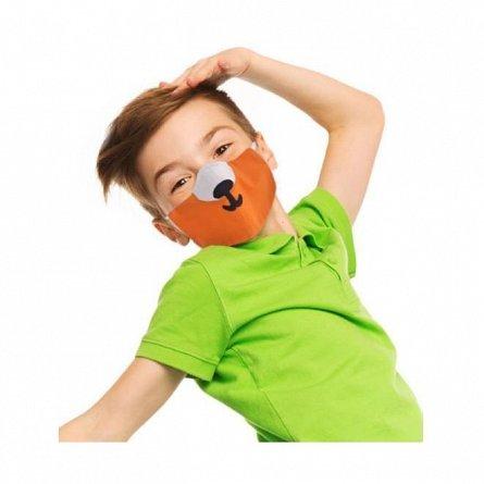 Masca de fata pentru copii reutilizabila, forma anatomica, cu botic vulpita, 6-12 ani