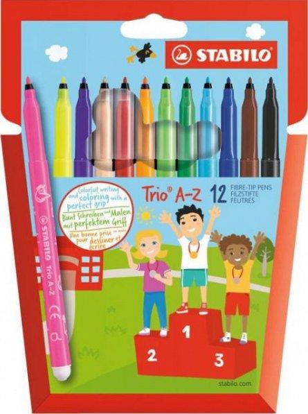Marker pt copii Stabilo Trio,A-Z,10+2fluor