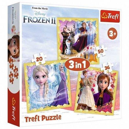 Puzzle Trefl 3 in 1 - Frozen 2, Ana si Elsa