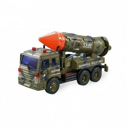 Masina militara cu racheta frictiune, lumini si sunete, 1:16