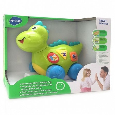Jucarie interactiva Hola Toys - Baby dinozaurul cu miscari, melodii si lumini