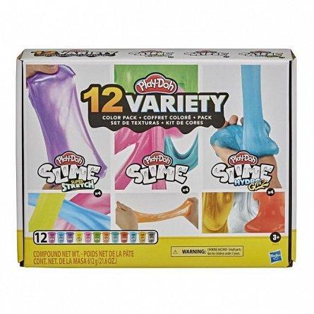 Set Play-Doh Slime - 12 rezerve cu diferite culori si texturi