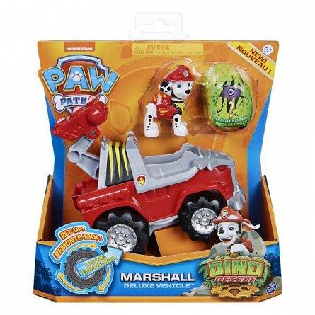 Patrula Catelusilor - Set vehicul cu catelus Marshall,  figurina dino surpriza