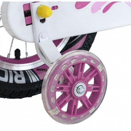 Bicicleta copii 4-6 ani, roti 16 inch, C-Brake, roti ajutatoare cu Led, Rich Baby CSR16-04A, cadru r