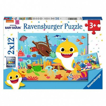 Puzzle Ravensburger - Baby Shark, 2x12 piese