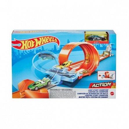 Circuit Hot Wheels Action, cu lansator pentru cascadorii si masinuta