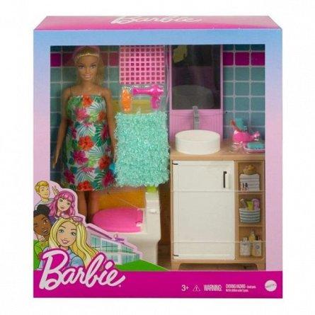 Papusa Barbie Estate - Set mobilier baie si accesorii