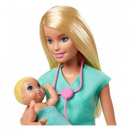 Papusa Barbie You can be - Doctor pediatru, blonda, cu 2 bebelusi