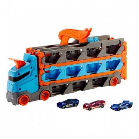 Mega transportator Hot Wheels - Speedway Hauler, cu masini pista