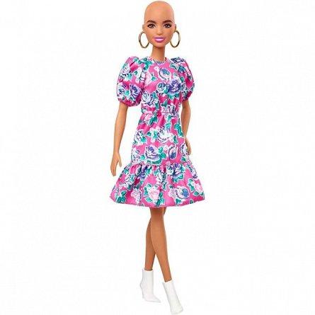 Papusa Barbie Fashionistas - fara par si rochie roz cu maneci bufante