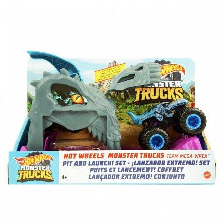 Lansator Hot Wheels Monster Truck - Team Mega-Wrex, cu 2 masinute