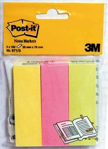 Index adeziv  Post-it, 25 x 76 mm, 3 x 100 file, din hartie