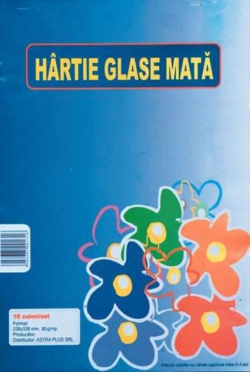Hartie glace mata 24x34cm, 10 culori/set