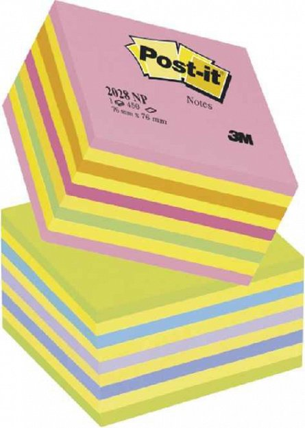 Cub notite adezive Post-it, 76 x 76 mm, 450 file, galben / roz