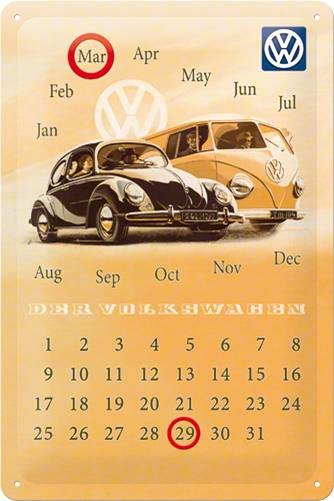 CALENDAR 20X30 VW