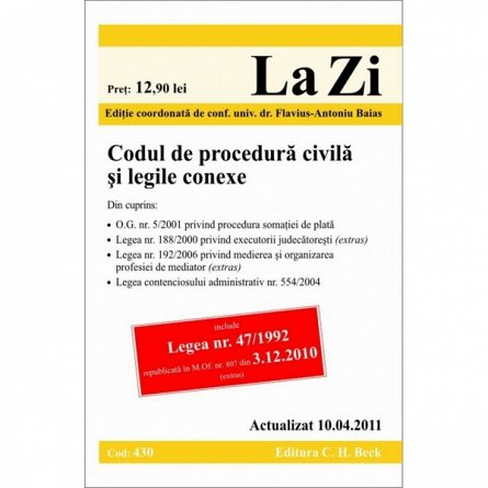 CODUL CIVIL REPUBLICAT LEGEA 278/2009 (COD 453) ACTUALIZAT LA 01.10.2011