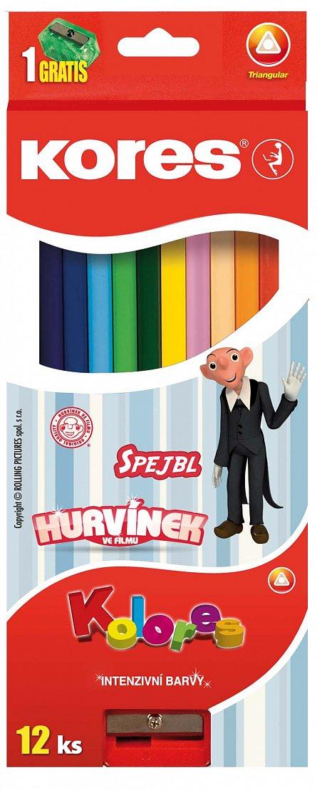 Creioane colorate Kores 12buc+ascutitoar trunghilare