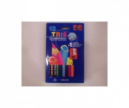 Creioane colorate,jumbotriungh.,12 culori,asc