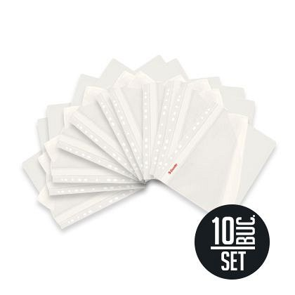 Dosar din plastic, set 10 bucati, cu sina si multiperforatii, alb, Vivida Esselte