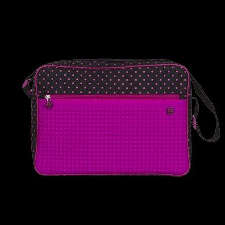 Geanta umar,Pixie,40x30x8cm,negru/roz