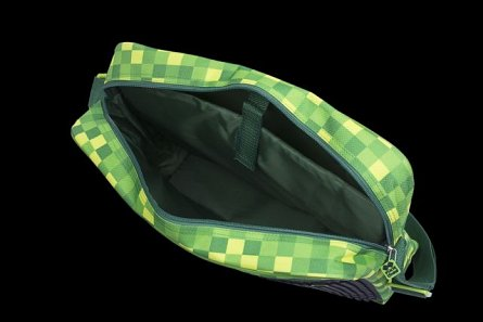 Geanta umar Pixie,40x30x8cm,verde/negru