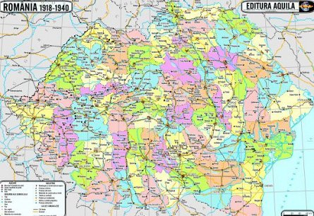 Harta istorica,Romania/Europa,70/100cm
