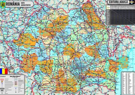 Harta Romania,fizica/administrativa,120x160